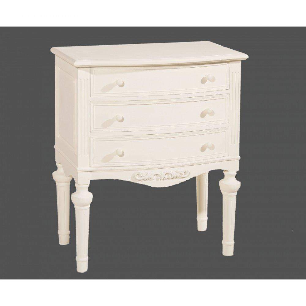 commodes meubles et rangements commode blanche 3 tiroirs louise en bois de zelkova style. Black Bedroom Furniture Sets. Home Design Ideas