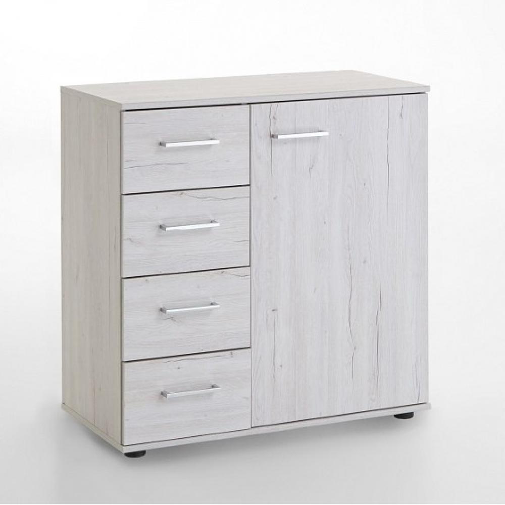 Buffet CARAMELLA chêne blanc avec 4 tiroirs et 1 porte battante