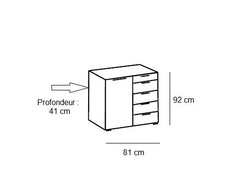 Commode combinée DELSON 4 tiroirs 1 porte chêne artisan