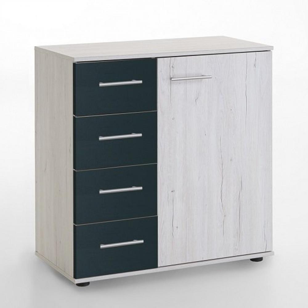 Commode Buffet EVA 4 tiroirs graphite 1 porte chêne blanchi