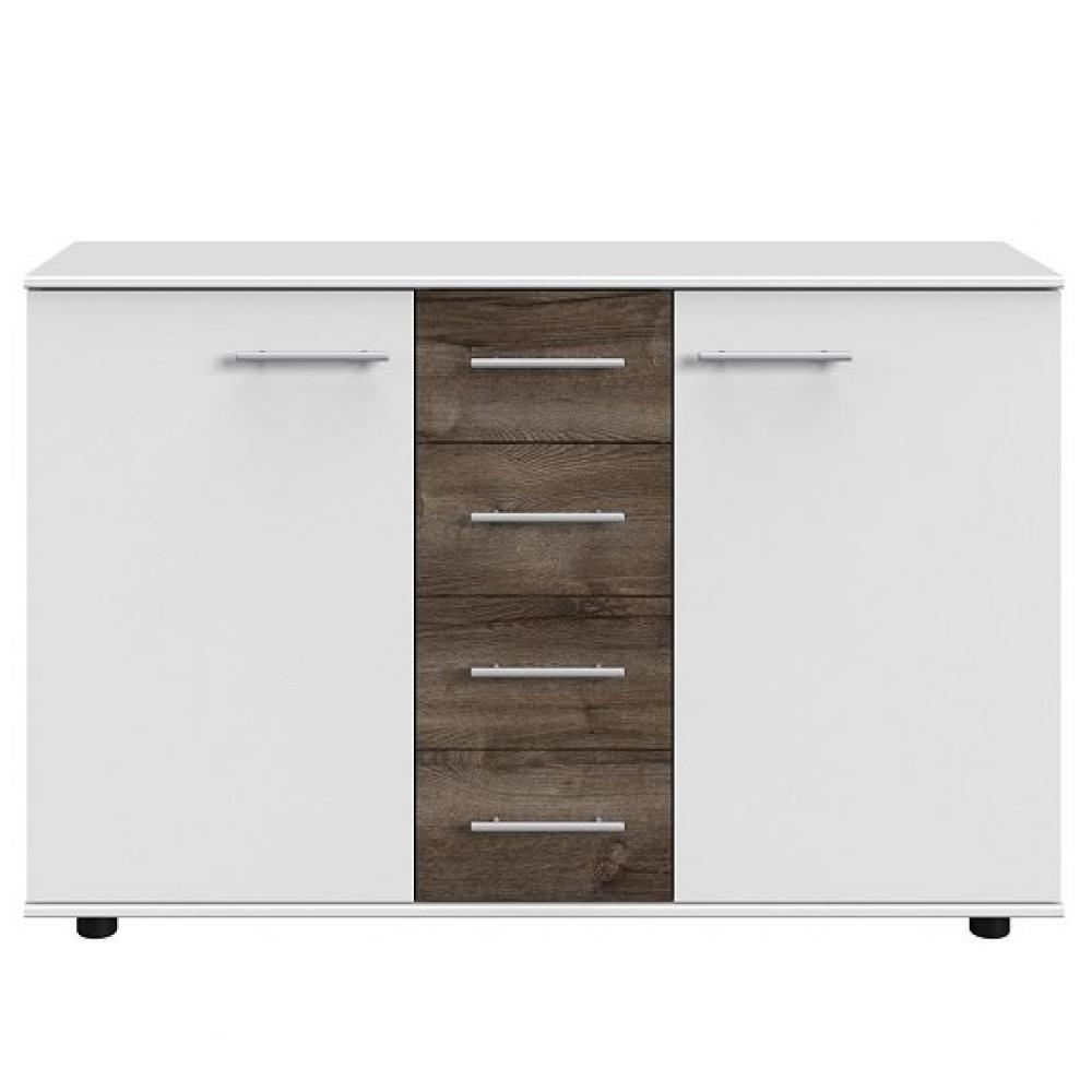 Commode Buffet EVA 4 tiroirs chêne châtaigne 2 portes blanc mat