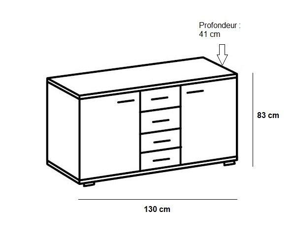 Commode Buffet EVA 4 tiroirs graphite 2 portes chêne blanchi