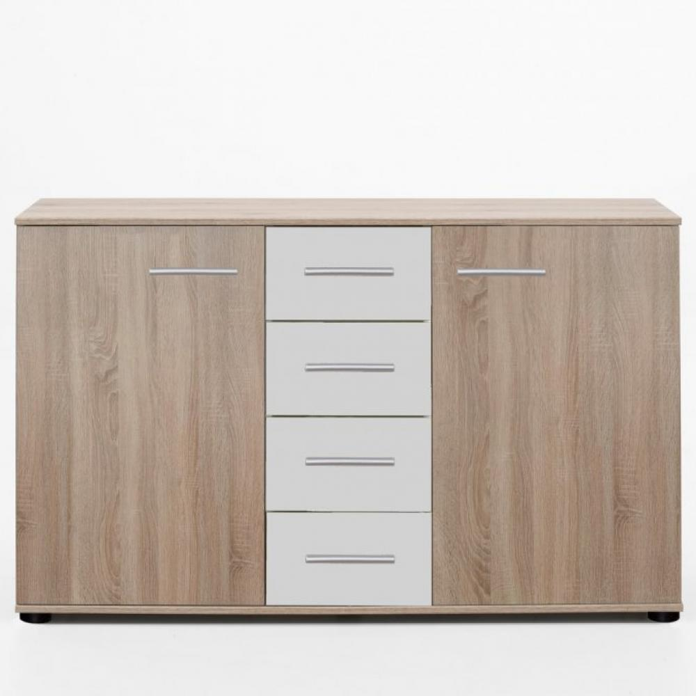 Commode Buffet EVA 4 tiroirs blanc mat 2 portes chêne clair