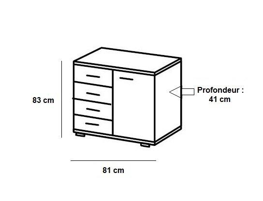 Commode Buffet JANA 4 tiroirs chêne clair 1 porte graphite