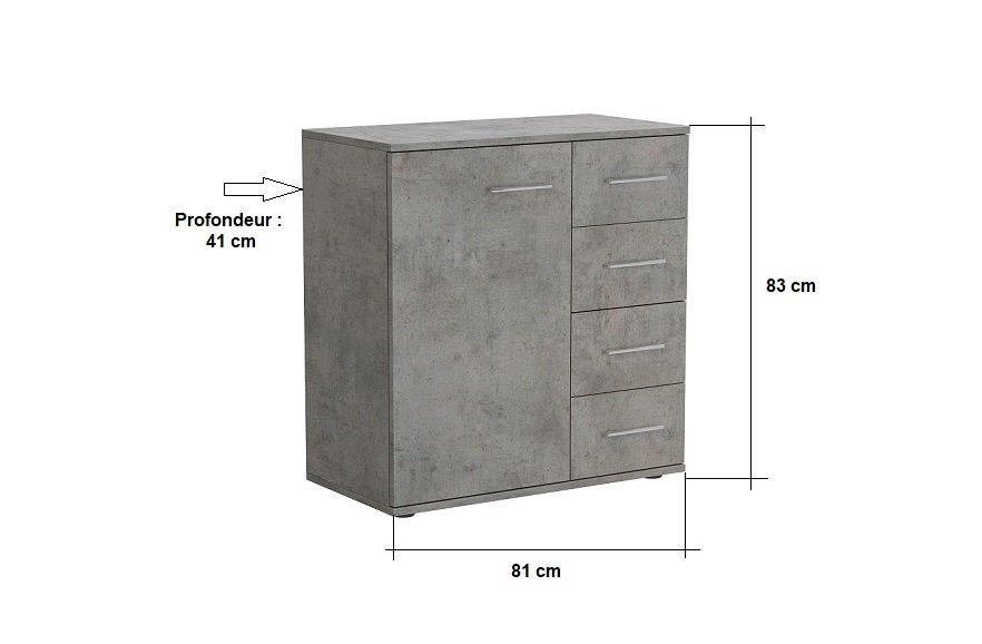 Commode combinée LOFT 4 tiroirs 1 porte gris béton