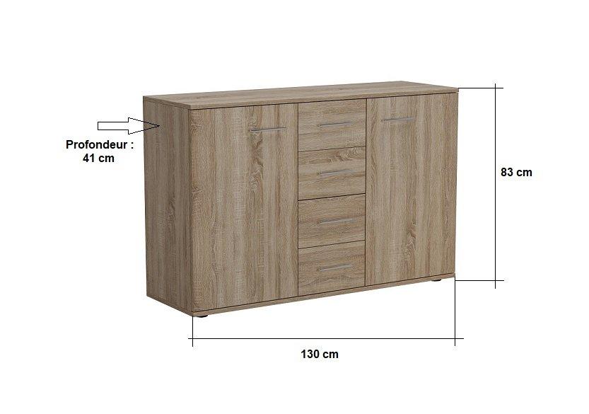 Commode combinée SMART 2 portes 4 tiroirs chêne