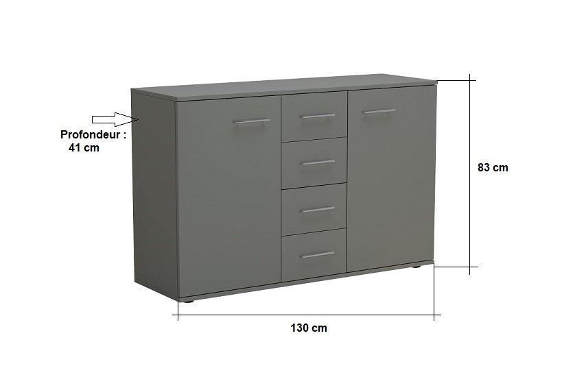 Commode combinée SMART 2 portes 4 tiroirs gris graphite mat