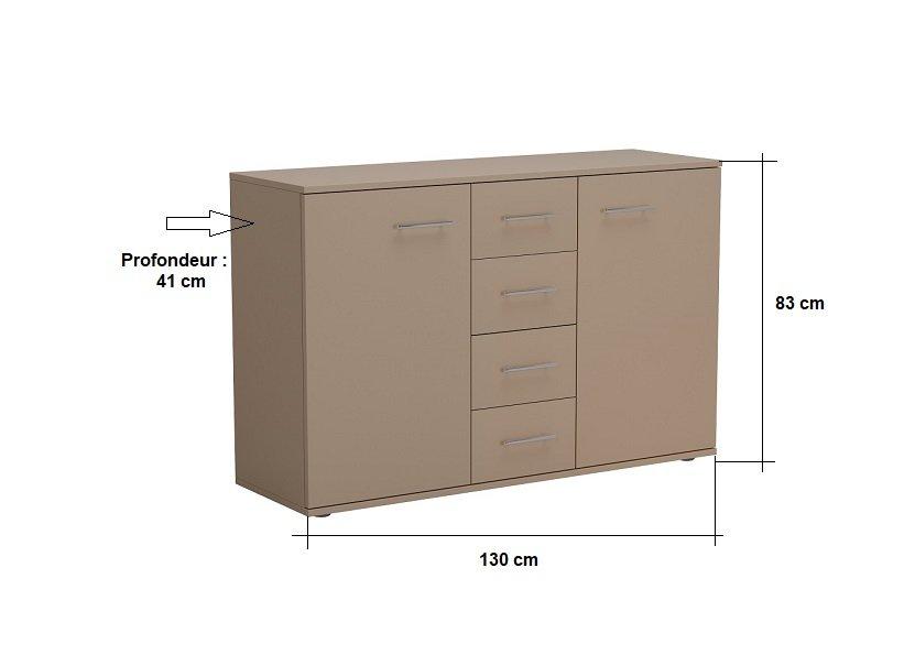 Commode combinée SMART 2 portes 4 tiroirs taupe mat