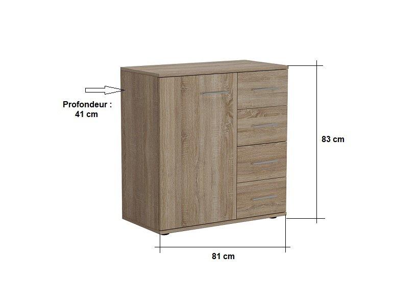 Commode combinée SMART 4 tiroirs 1 porte chêne