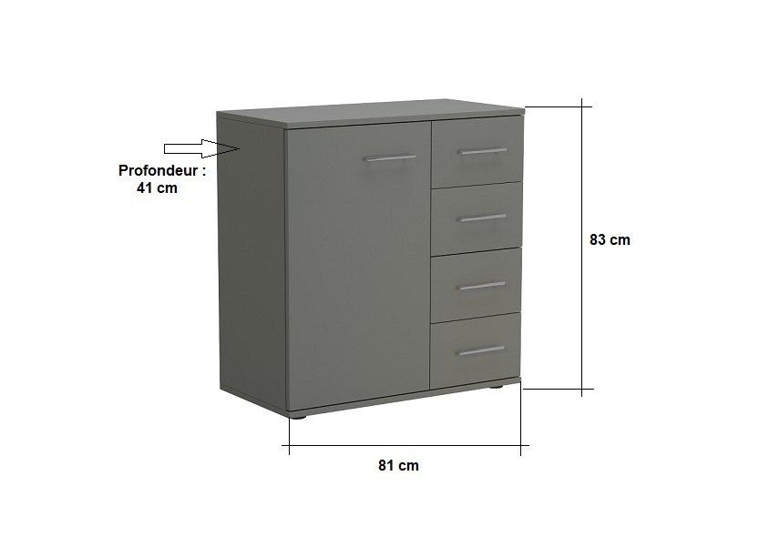 Commode combinée SMART 4 tiroirs 1 porte gris graphite mat