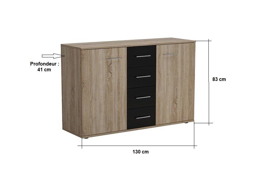Commode combinée TEKNO 2 portes chêne 4 tiroirs noir mat