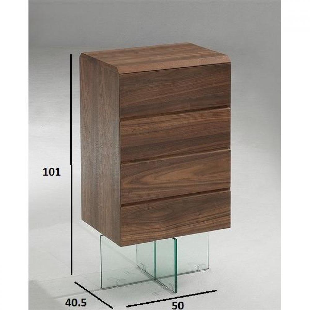 commodes meubles et rangements commode design delta noyer avec pi tement en verre 4 tiroirs. Black Bedroom Furniture Sets. Home Design Ideas