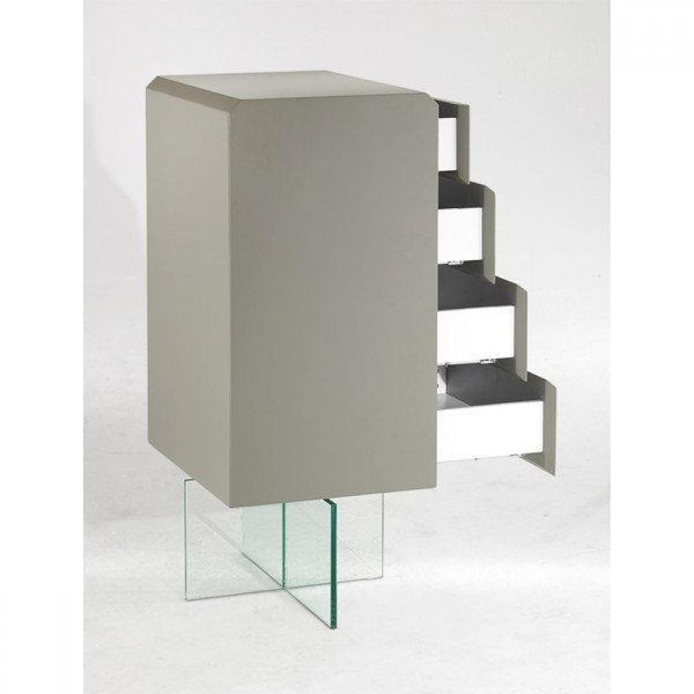 commodes meubles et rangements commode design delta taupe avec pi tement en verre 4 tiroirs. Black Bedroom Furniture Sets. Home Design Ideas
