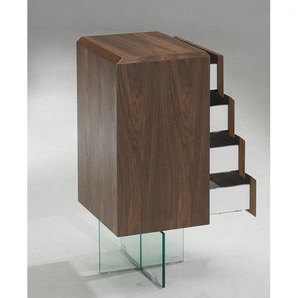 commodes meubles et rangements commode design sigma noyer avec pi tement en verre 4 tiroirs. Black Bedroom Furniture Sets. Home Design Ideas