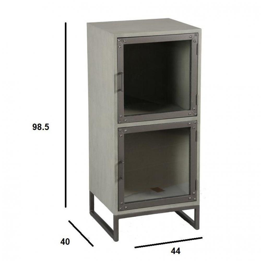 commodes meubles et rangements commode industry c rus gris avec 2 portes inside75. Black Bedroom Furniture Sets. Home Design Ideas