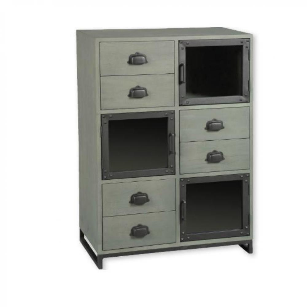 commodes meubles et rangements commode industry c rus gris avec 6 tiroirs et 3 portes inside75. Black Bedroom Furniture Sets. Home Design Ideas