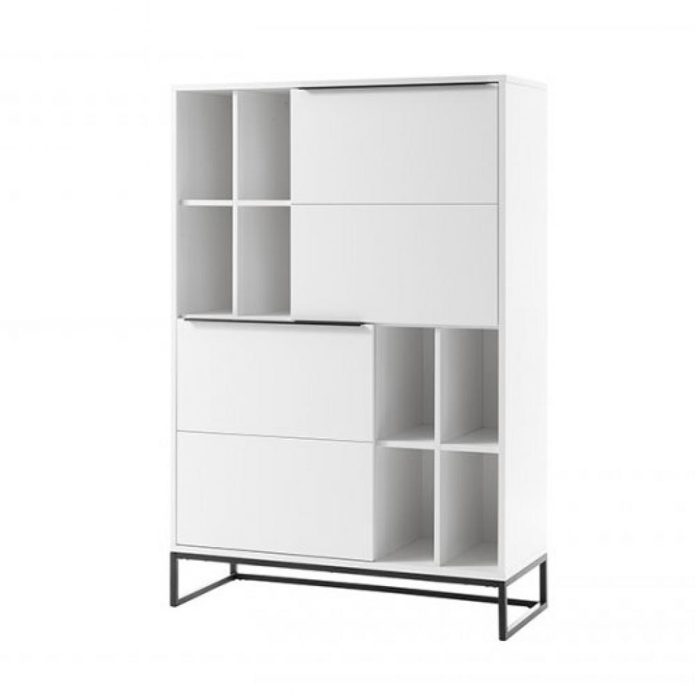 Bibliothèque LUARD blanc laque mat 2 portes 8 niches piètement metal noir