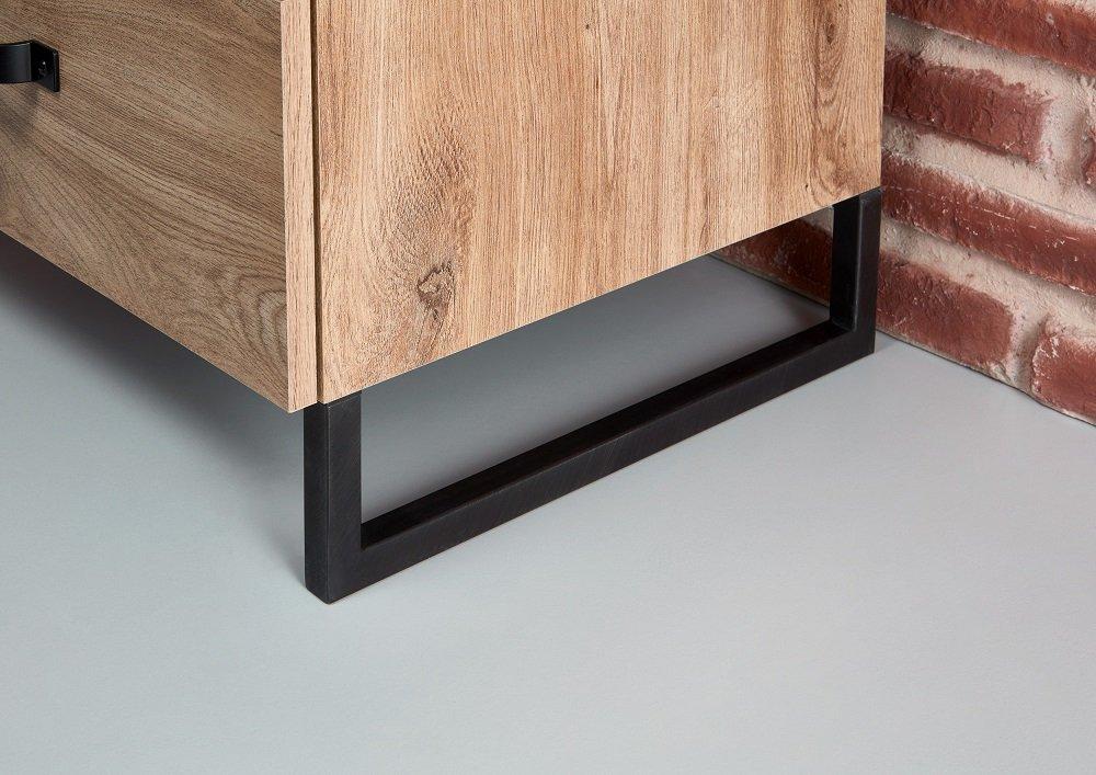 Commode Buffet 5 tiroirs 2 portes style industriel PORTLAND chêne poutre métal L:139