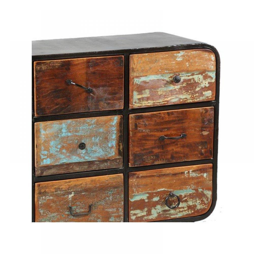 Commodes meubles et rangements commode recover 9 tiroirs inside75 - Commode bois et metal ...