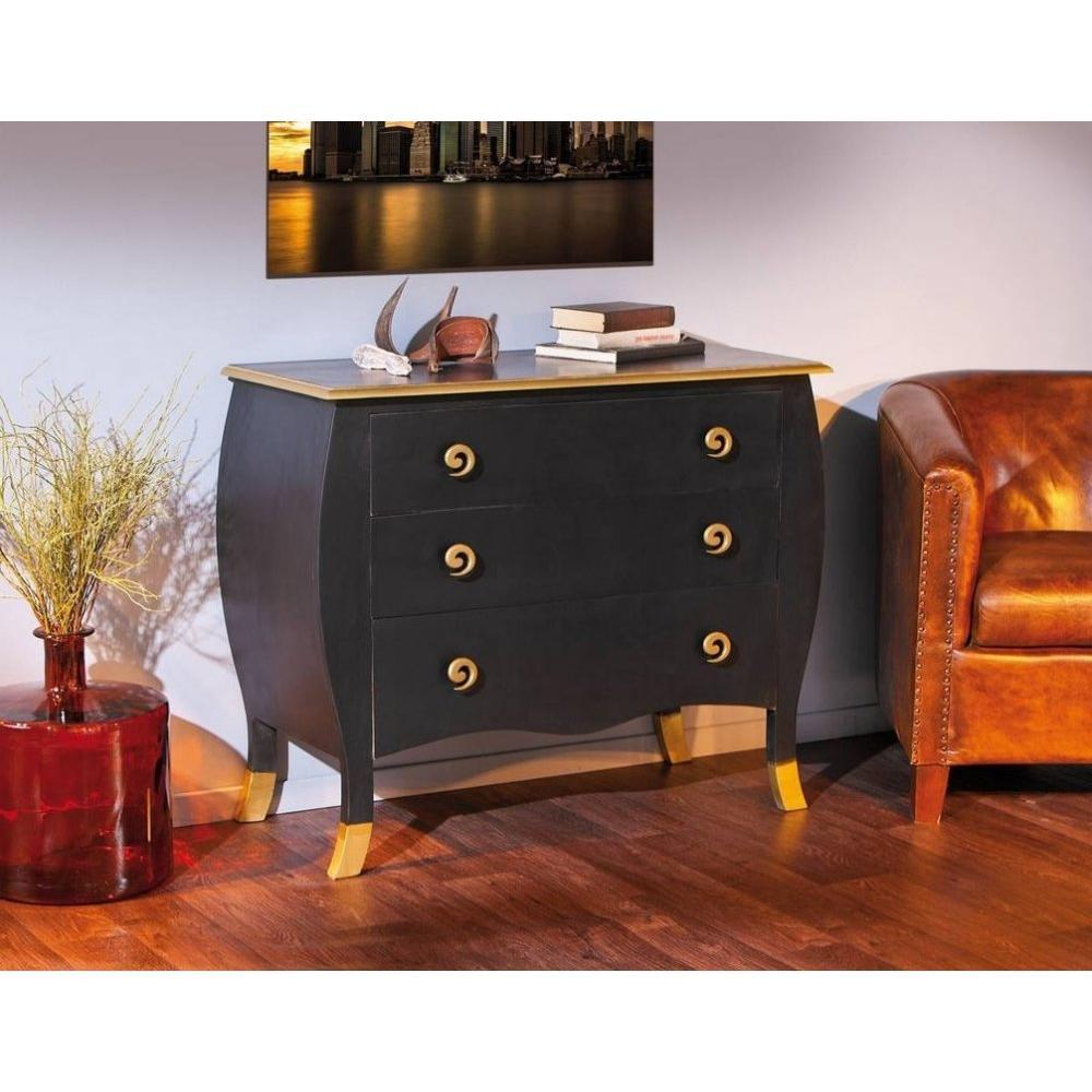 commodes meubles et rangements commode baroque rokkoko noire et or 3 tiroirs inside75. Black Bedroom Furniture Sets. Home Design Ideas