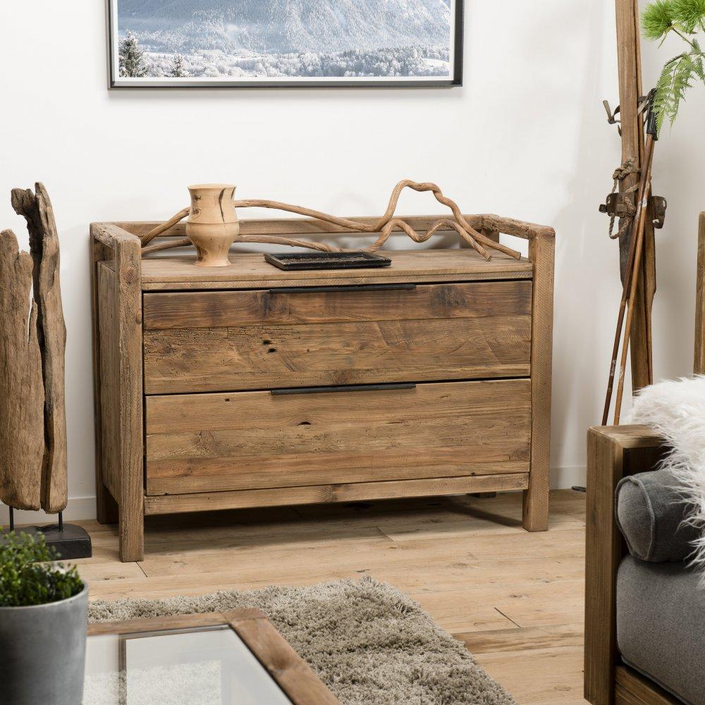 commode 2 tiroirs sandy scandinave en bois pin recycle