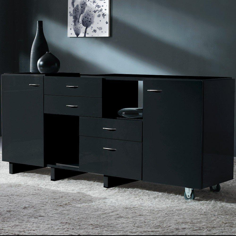 commodes meubles et rangements commode extensible shazam laqu e noire inside75. Black Bedroom Furniture Sets. Home Design Ideas