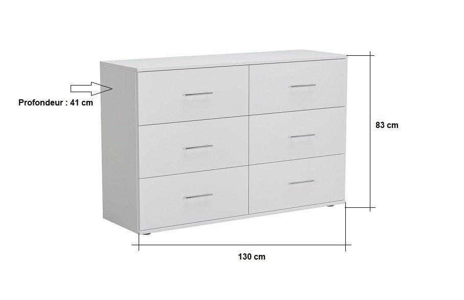 Commode SMART 6 tiroirs blanc mat