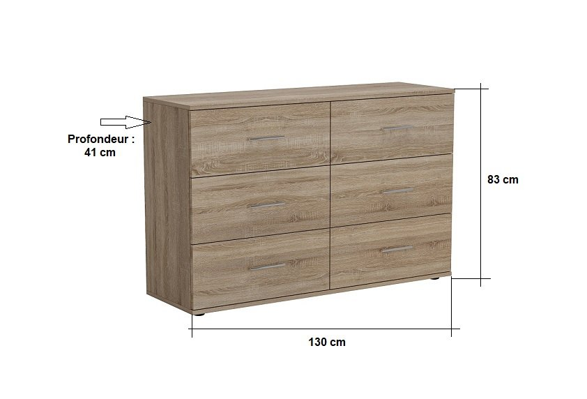 Commode SMART 6 tiroirs chêne