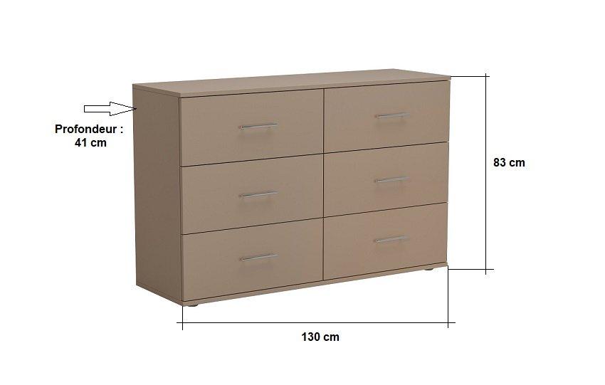 Commode SMART 6 tiroirs taupe mat