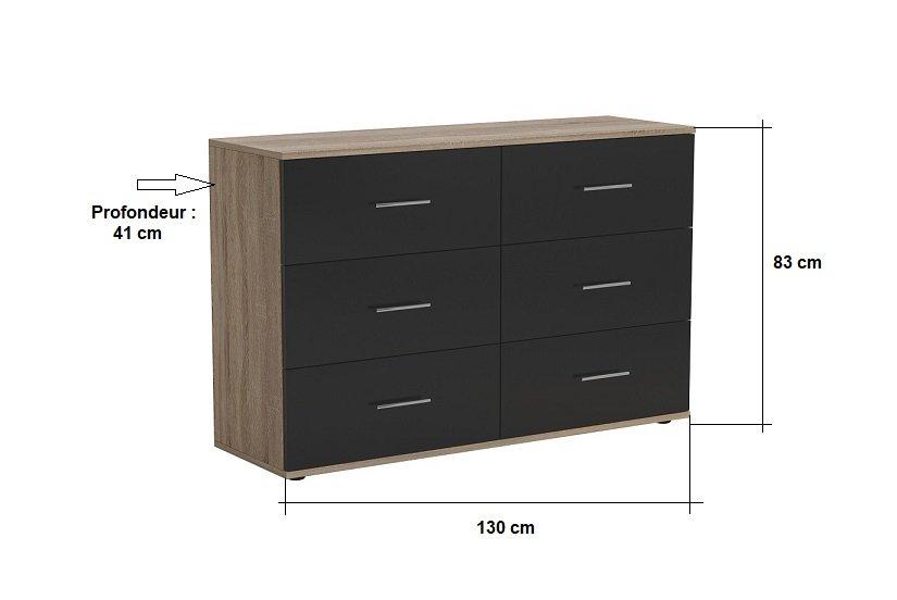 Commode KEY  chêne 6 tiroirs noir mat