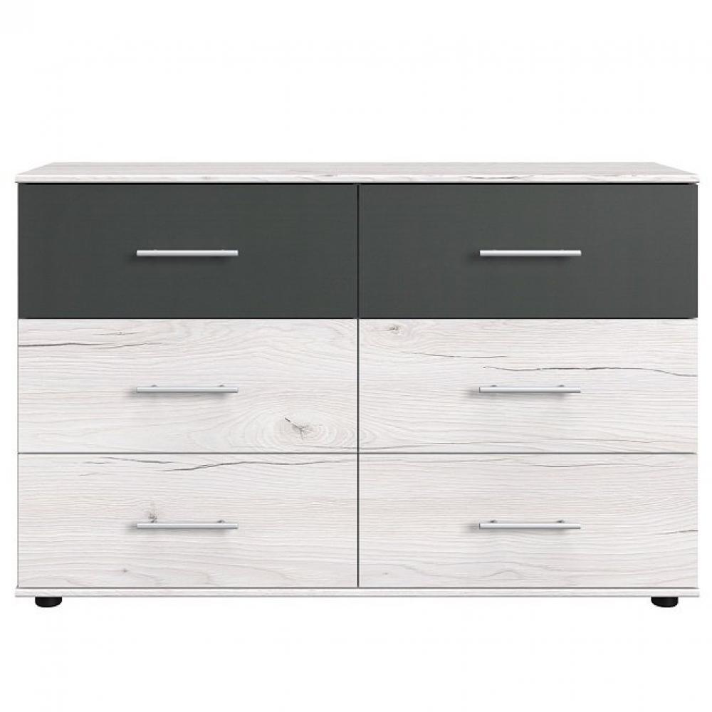 Commode EVA 4 tiroirs chêne blanchi 2 tiroirs graphite