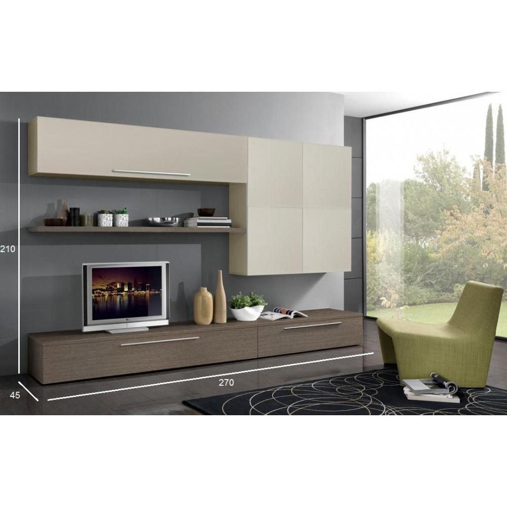 meubles tv meubles et rangements composition murale tv design primavera noyer et sable inside75. Black Bedroom Furniture Sets. Home Design Ideas