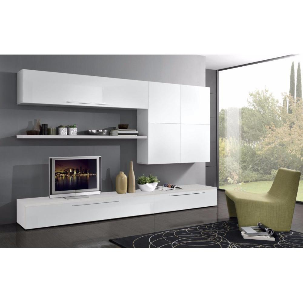 ensemble mural tv meubles et rangements composition murale tv design primavera blanche inside75. Black Bedroom Furniture Sets. Home Design Ideas