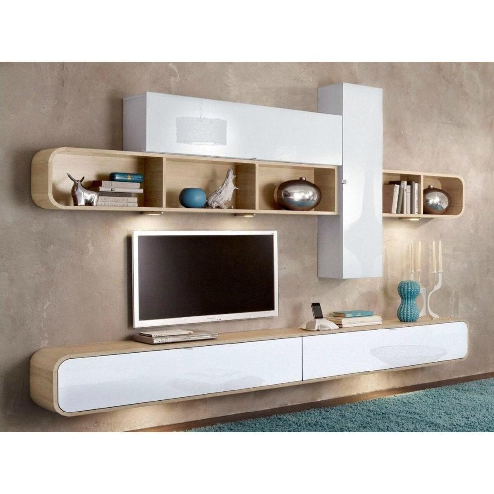 meubles tv meubles et rangements composition murale tv cobra design blanche et ch ne inside75. Black Bedroom Furniture Sets. Home Design Ideas