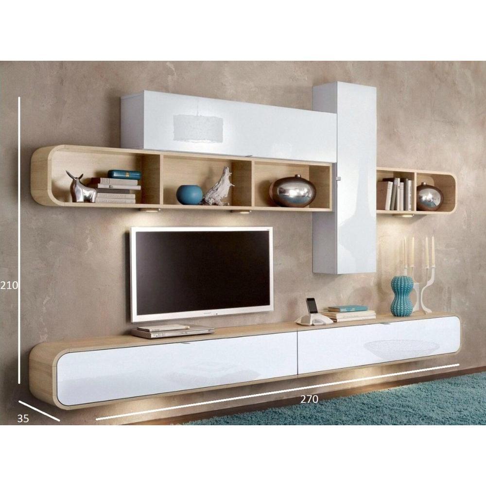 Meubles tv meubles et rangements composition murale tv cobra design blanche et ch ne inside75 - Meuble tv composition murale ...