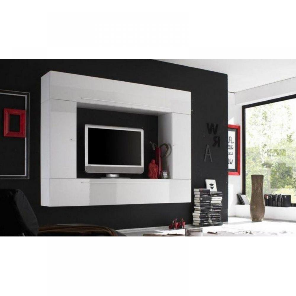 Ensemble mural tv meubles et rangements composition for Meuble mural laque brillant design
