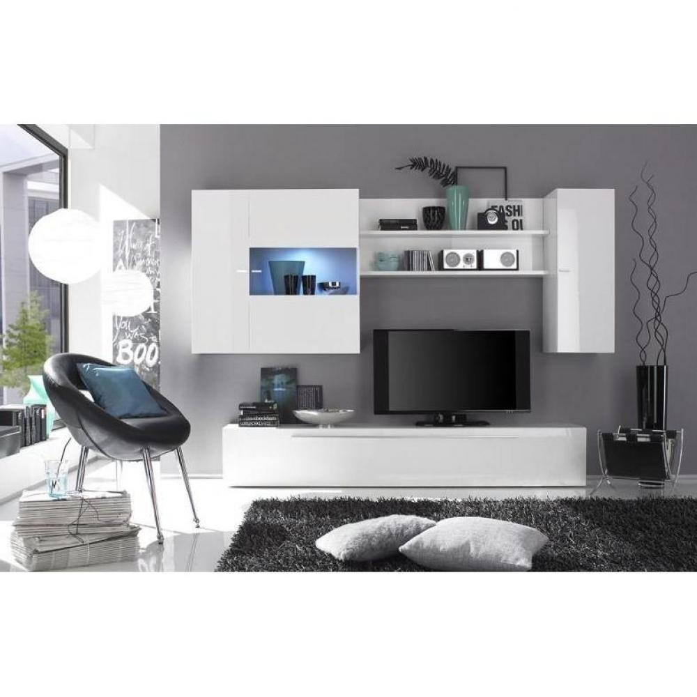 ensemble mural tv meubles et rangements composition murale tv design primera blanc brillant. Black Bedroom Furniture Sets. Home Design Ideas