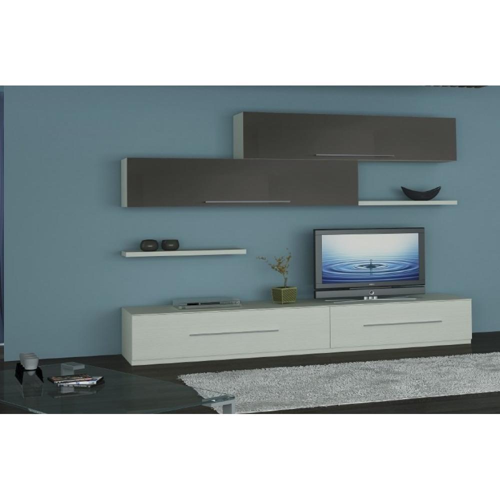 ensemble mural tv meubles et rangements composition murale tv lenis ch ne blanc et taupe. Black Bedroom Furniture Sets. Home Design Ideas