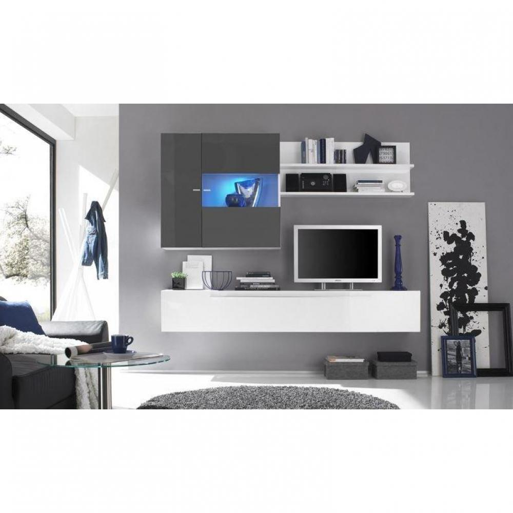 meubles tv meubles et rangements composition murale tv design primera 2 blanc et gris inside75. Black Bedroom Furniture Sets. Home Design Ideas