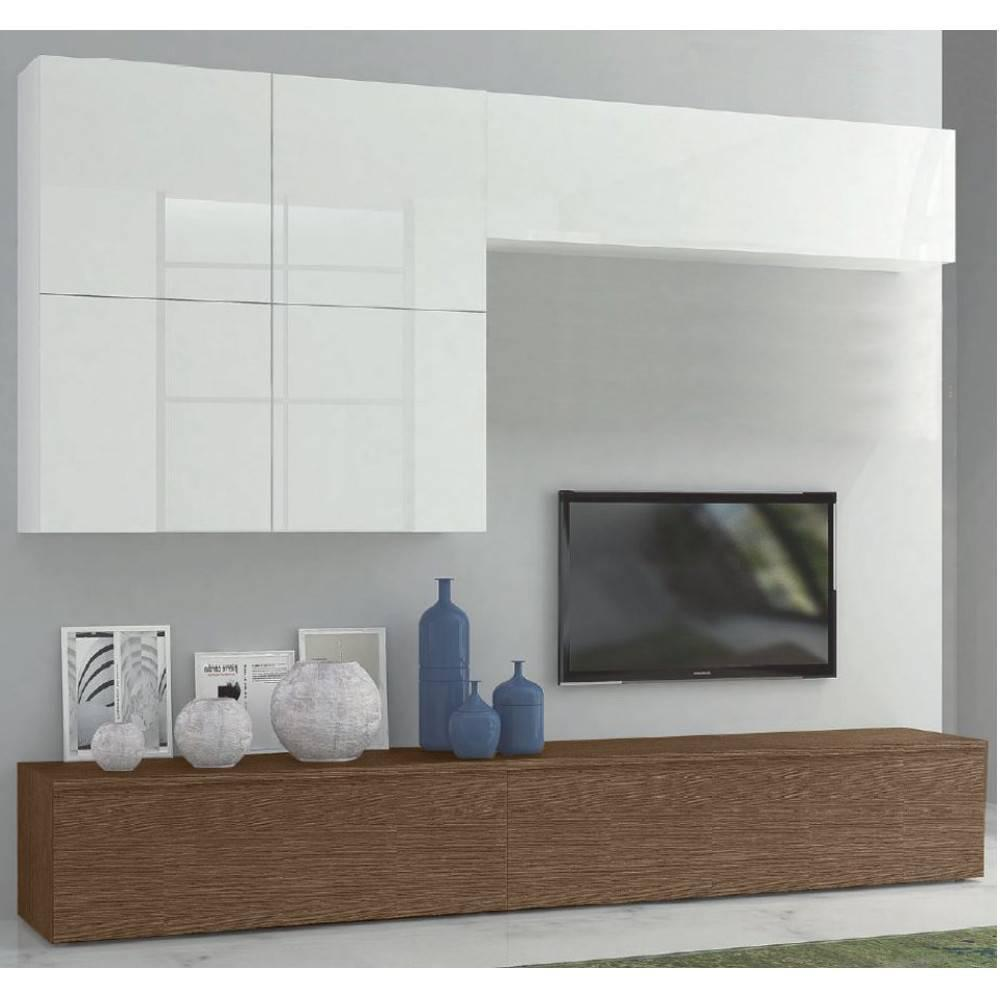 ensemble mural tv meubles et rangements composition murale tv design sigma noyer et blanc. Black Bedroom Furniture Sets. Home Design Ideas