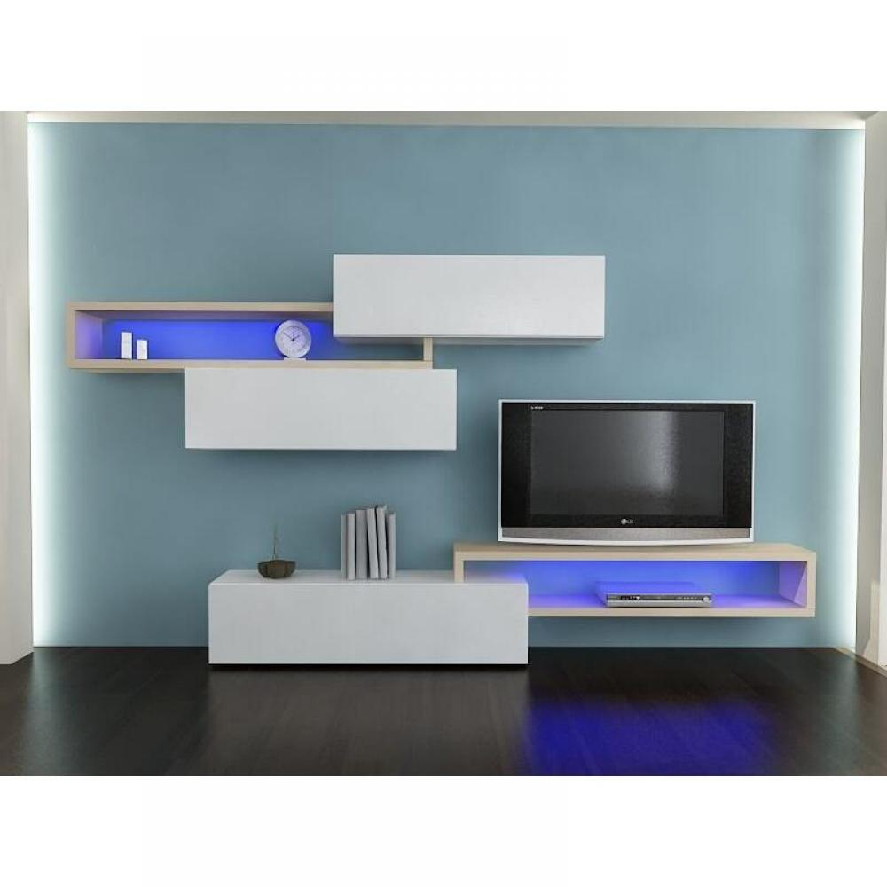 ensemble mural tv meubles et rangements composition murale tv design catena blanc et ch ne. Black Bedroom Furniture Sets. Home Design Ideas