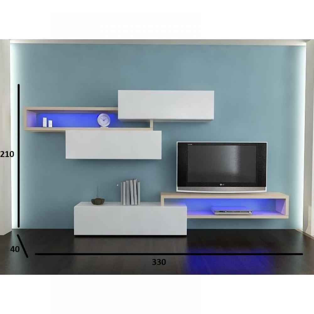 ensemble mural tv meubles et rangements composition murale tv design catena blanc et ch ne. Black Bedroom Furniture Sets. Home Design Ideas