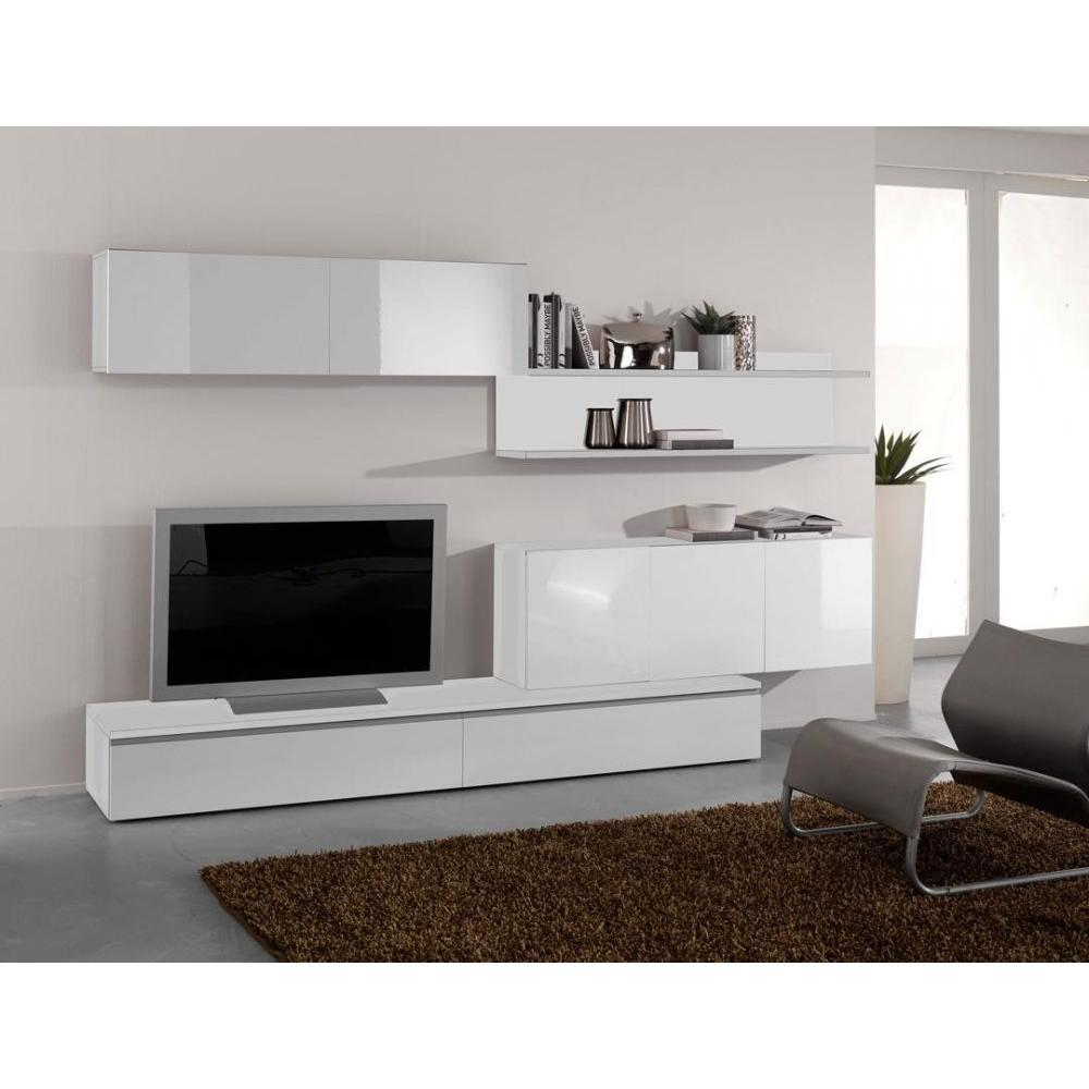 ensemble mural tv meubles et rangements composition murale tv design forte blanche inside75. Black Bedroom Furniture Sets. Home Design Ideas