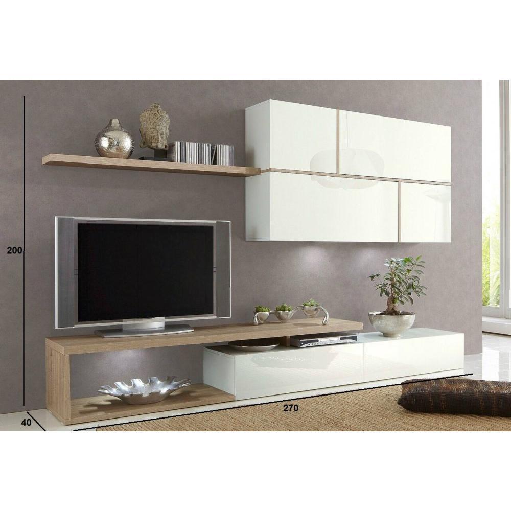 ensemble mural tv meubles et rangements composition murale tv design sword blanche et ch ne. Black Bedroom Furniture Sets. Home Design Ideas