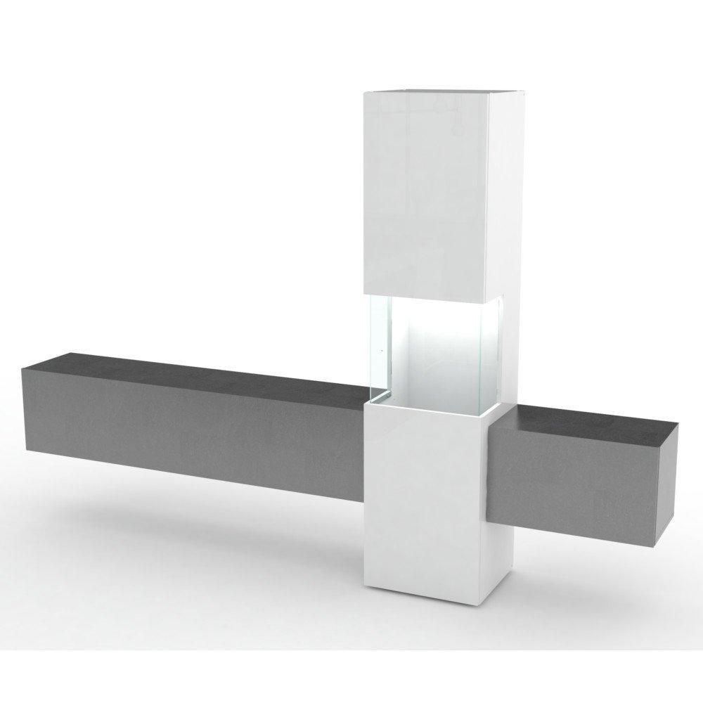 meubles tv meubles et rangements composition murale tv design wasp marbre noir et blanc laqu. Black Bedroom Furniture Sets. Home Design Ideas