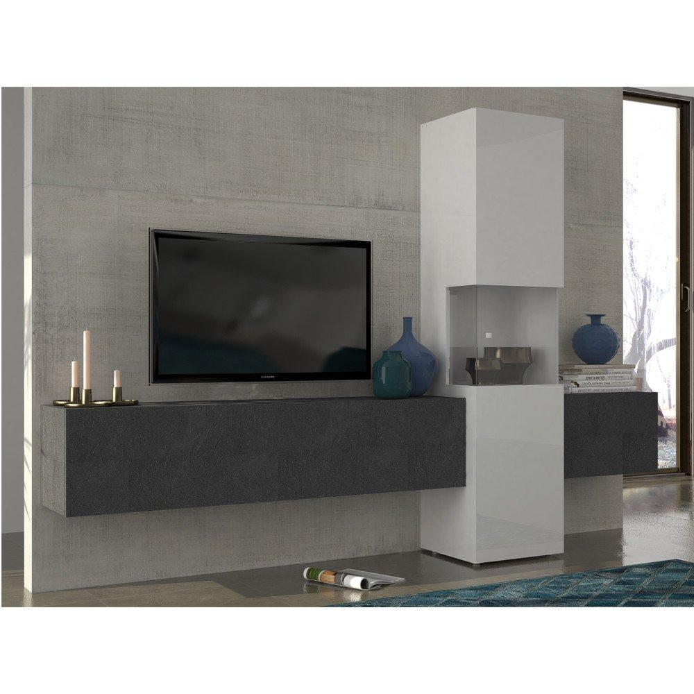 ensemble mural tv meubles et rangements composition murale tv design wasp marbre noir et blanc. Black Bedroom Furniture Sets. Home Design Ideas