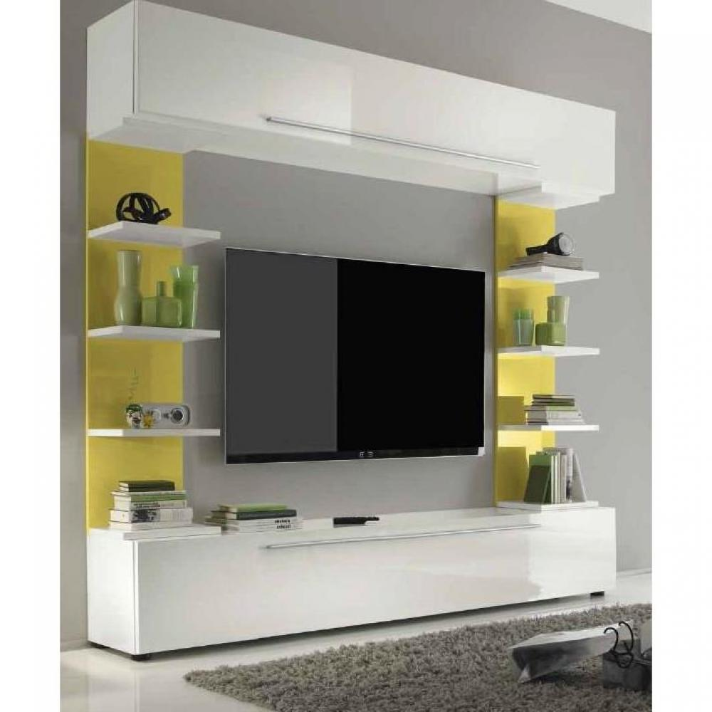 Ensemble mural tv meubles et rangements composition tv for Composition meuble tv design