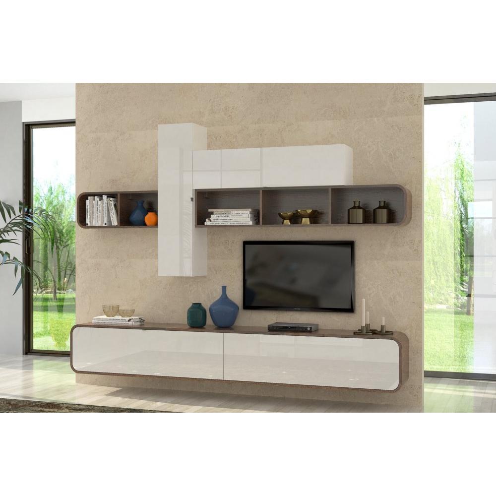 ensemble mural tv meubles et rangements composition tv murale cobra noyer et blanc brillant. Black Bedroom Furniture Sets. Home Design Ideas