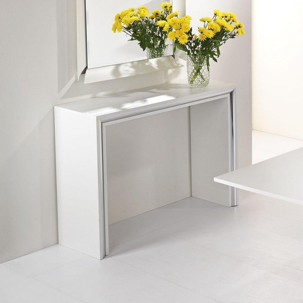 console design ultra tendance au meilleur prix console design archimede blanc brillant inside75. Black Bedroom Furniture Sets. Home Design Ideas