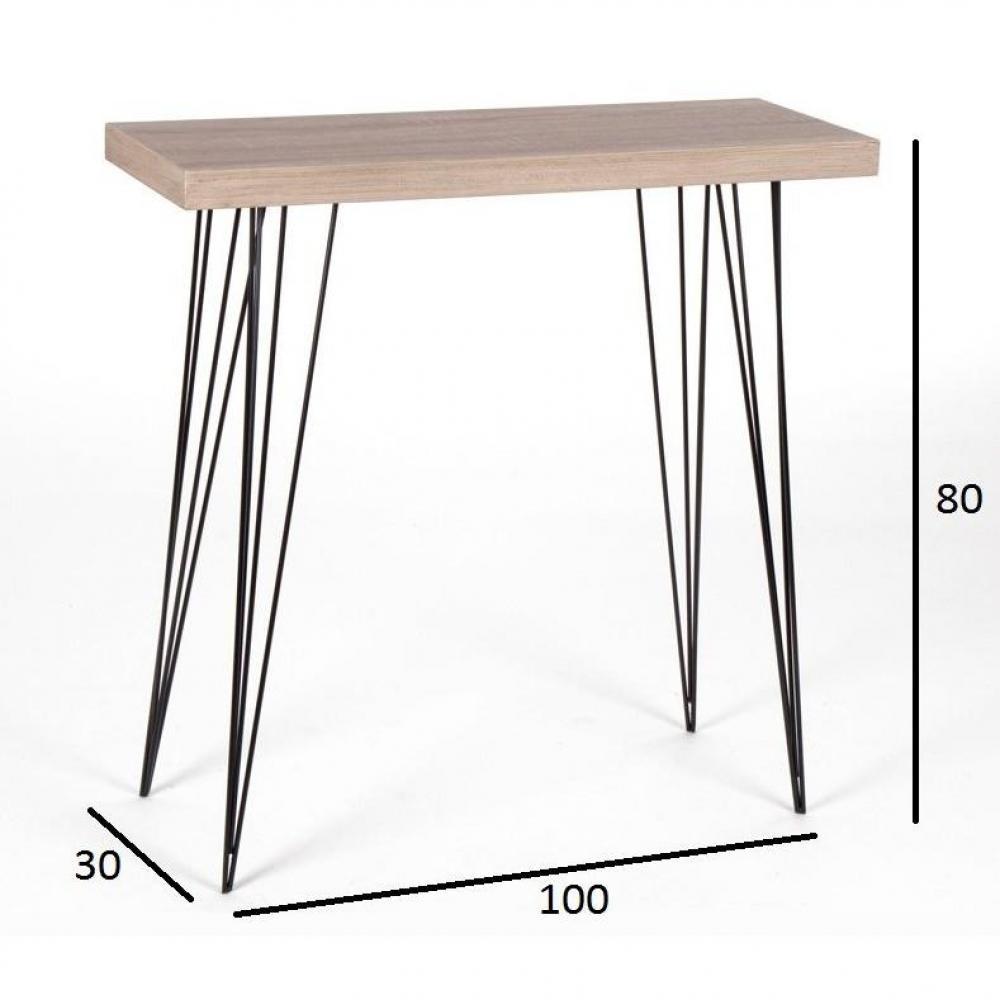 console design ultra tendance au meilleur prix console eiffage ch ne clair pi tement acier noir. Black Bedroom Furniture Sets. Home Design Ideas